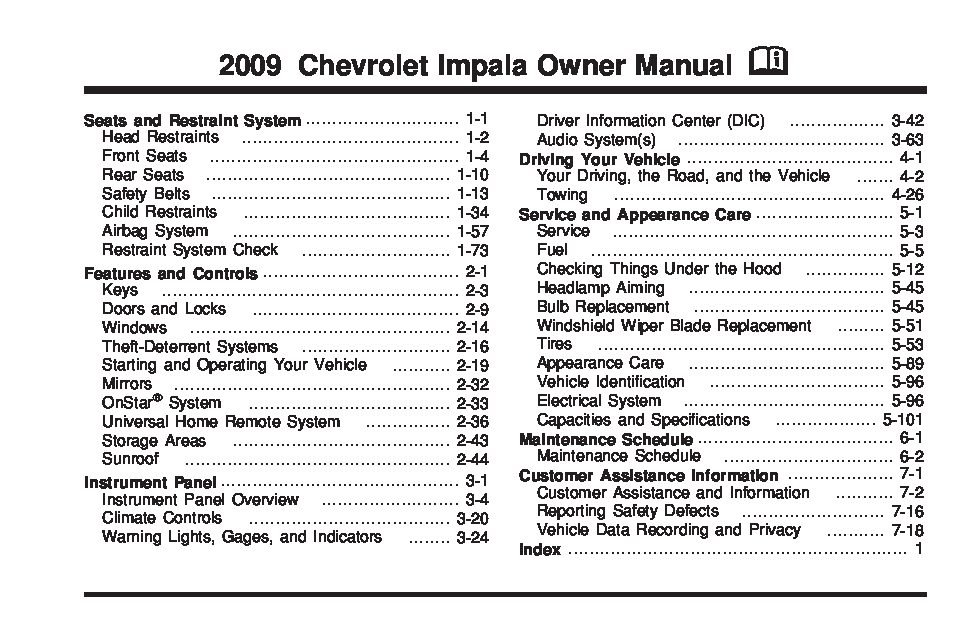 2009 chevrolet impala owners manual