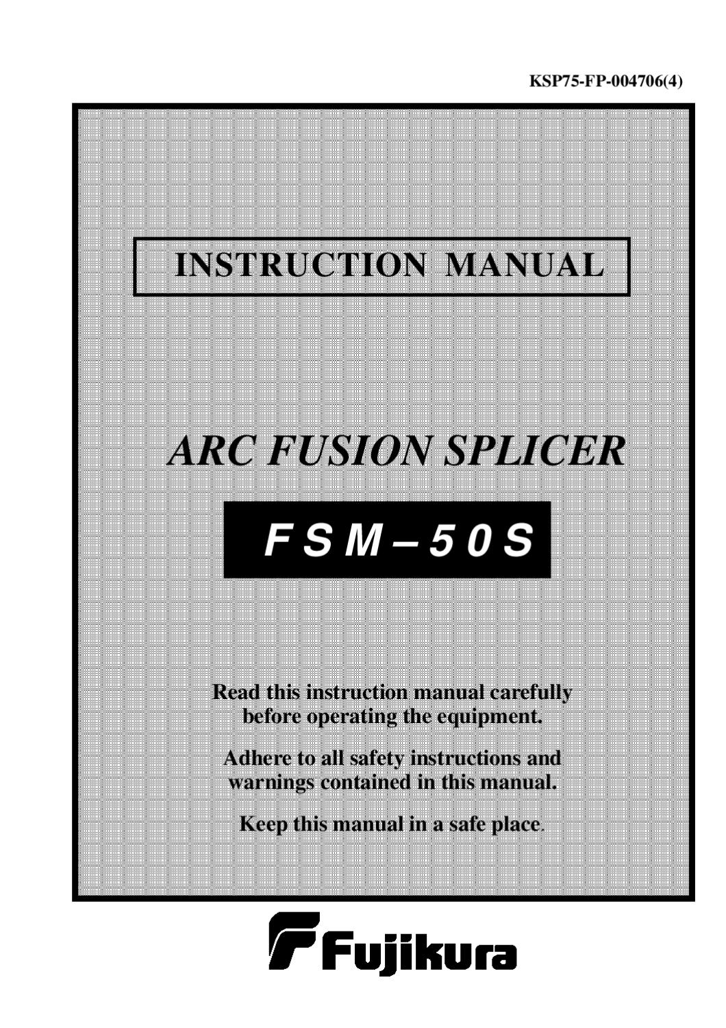 fujikura fsm 100p user manual